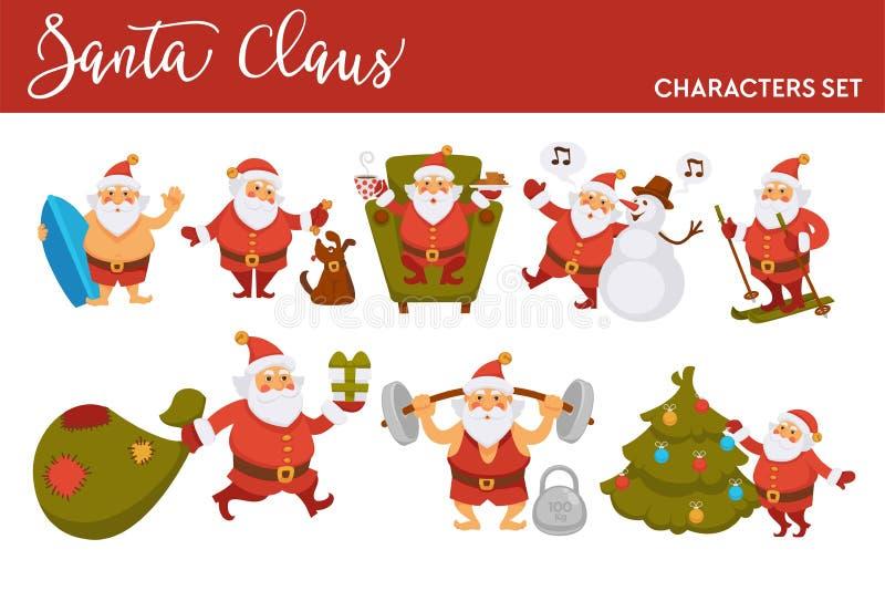 Os desenhos animados Santa do ano novo feliz que comemora o esqui dos feriados com presentes ensacam ou surfar do oceano do verão ilustração royalty free