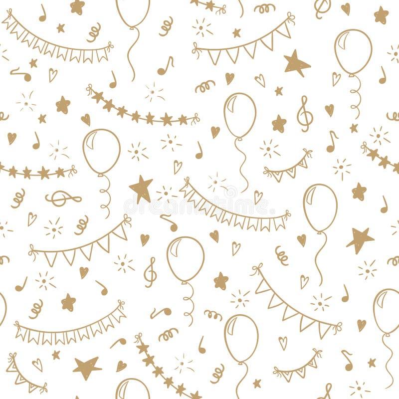 Os desenhos animados tirados da garatuja do teste padrão mão sem emenda objetam e símbolos da festa de anos cartão do feriado do  ilustração do vetor