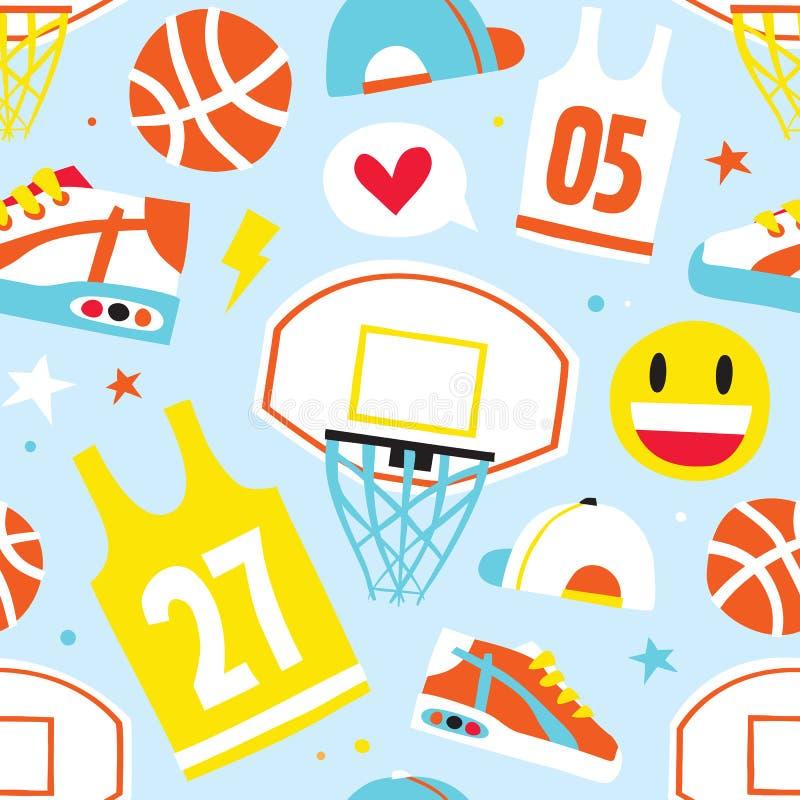 Os desenhos animados tirados mão do basquetebol objetam o azul sem emenda do teste padrão do vetor ilustração do vetor