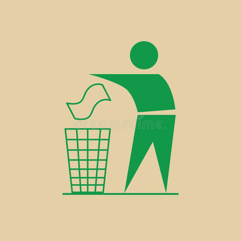 Os desperdícios do lance do homem no escaninho reciclam a utilização Logo Web Icon ilustração royalty free