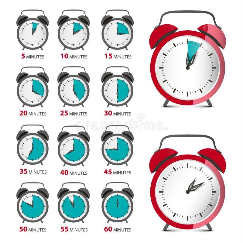 Os despertadores ajustaram-se com símbolo do tempo Contador análogo do vetor ilustração stock
