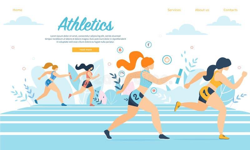 Os desportistas do atletismo participam na corrida da raça de relé ilustração royalty free