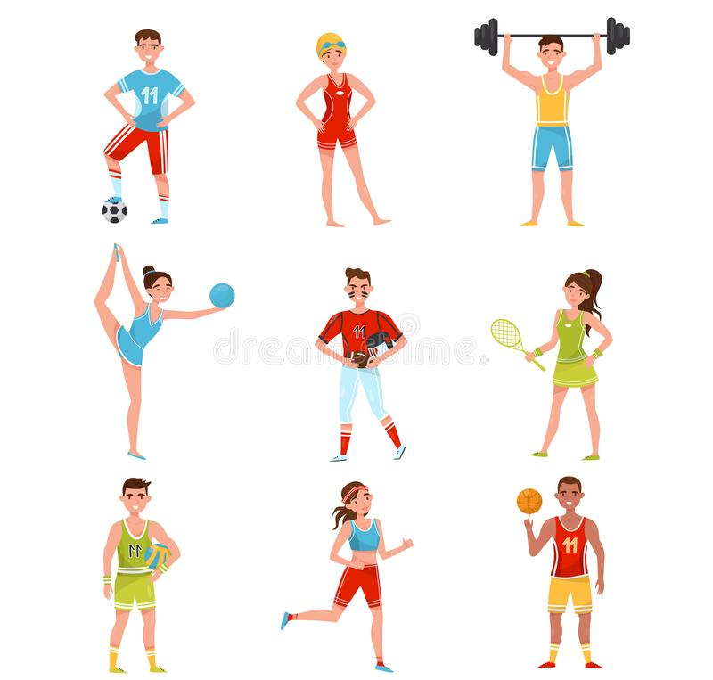 Os desportistas profissionais ajustaram-se, jogadores no futebol, basebol, basquetebol, voleibol, tênis e outros esportes, esport ilustração stock