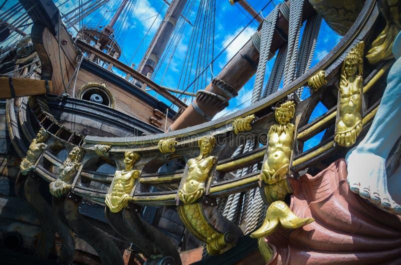 Os detalhes de Galeone Netuno enviam em Genoa, Itália fotografia de stock royalty free