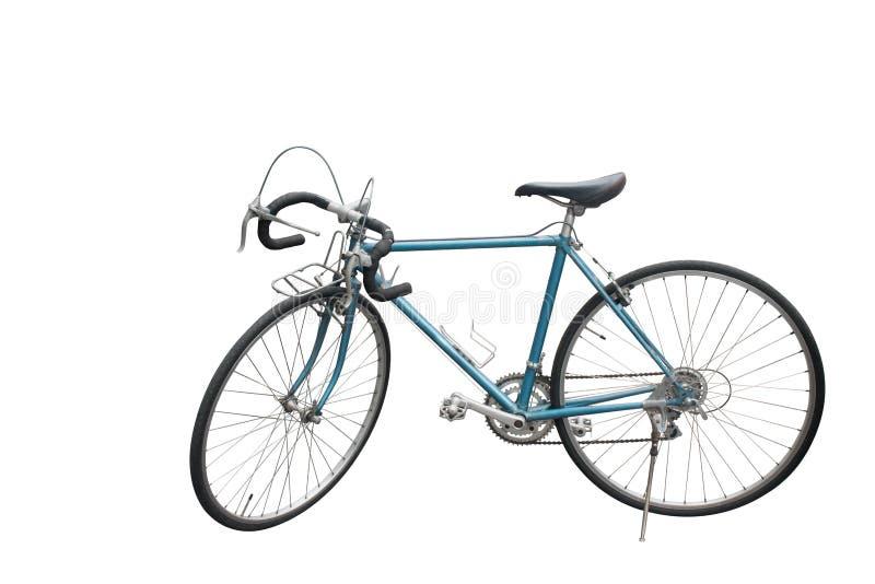 Os Di da vista lateral cortaram a bicicleta velha azul no fundo branco, copiam o espaço imagens de stock