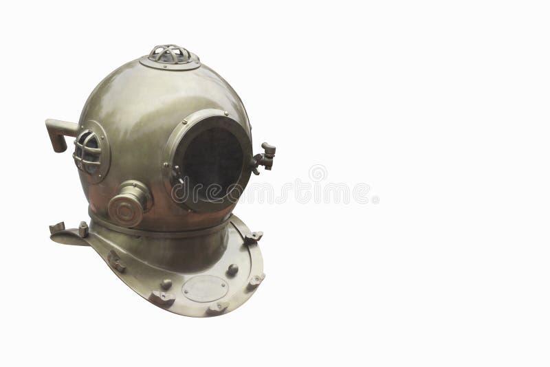 Os Di da vista lateral cortaram o mergulhador de bronze no fundo branco, copiam o espaço fotos de stock