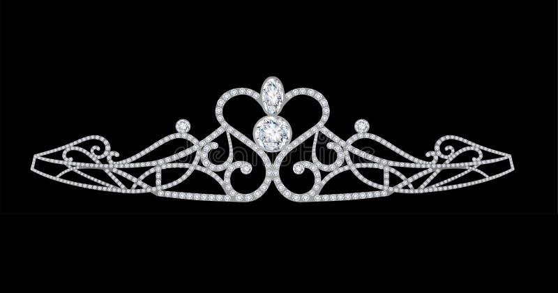 os diamantes coroam a tiara ilustração royalty free