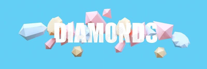 Os diamantes poligonais fizeram do papel em um fundo azul foto de stock