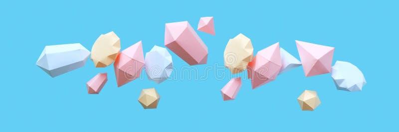 Os diamantes poligonais fizeram do papel em um fundo azul imagem de stock royalty free