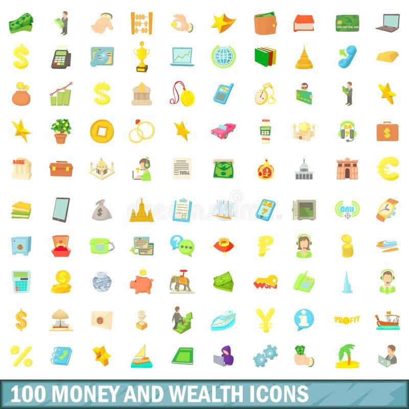 100 os dinheiros e ícones da riqueza ajustaram-se, estilo dos desenhos animados ilustração stock
