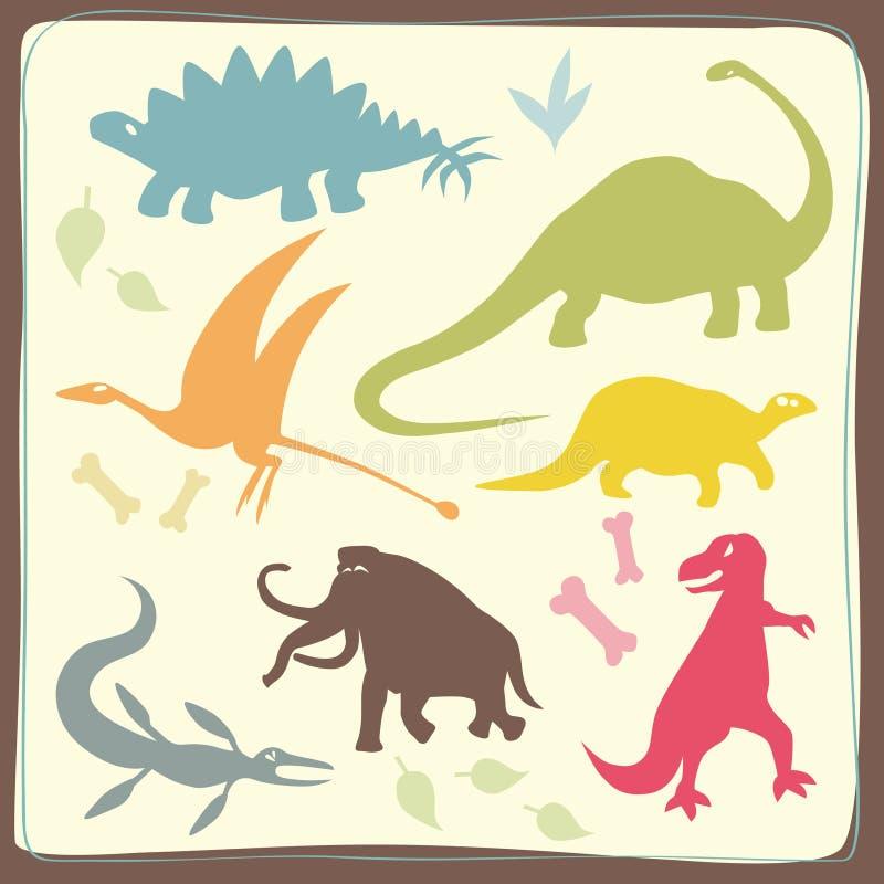 Os dinossauros coloridos ajustaram-se ilustração stock