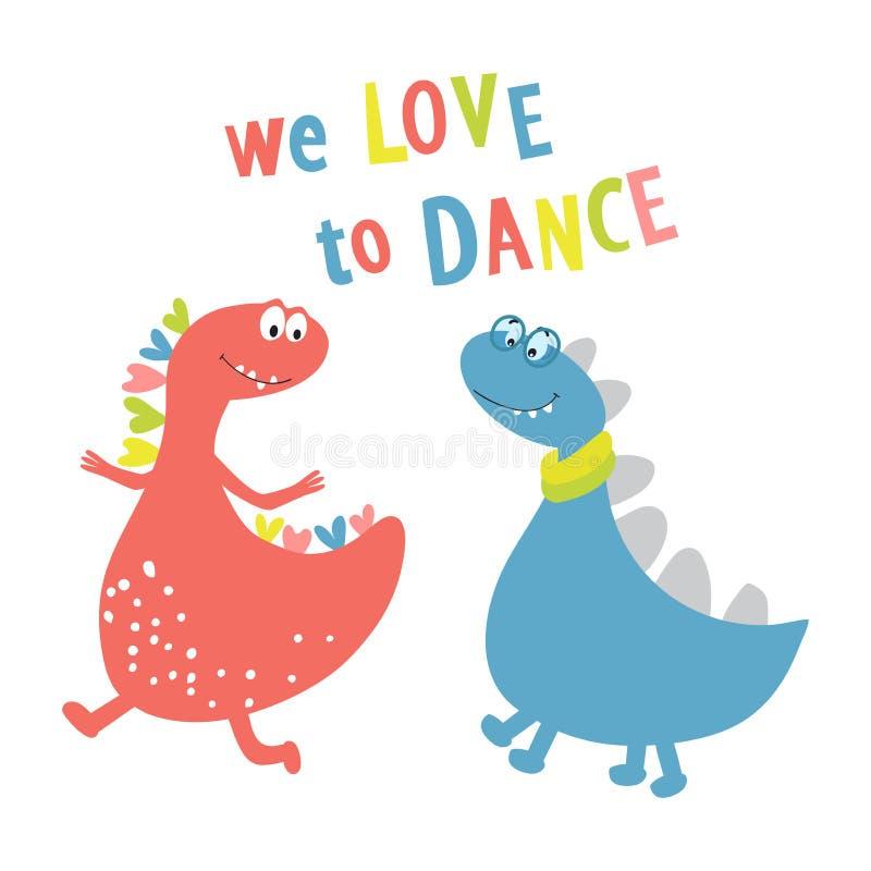 Os dinossauros dançam e cantam uma música r Ilustração do vetor ilustração stock