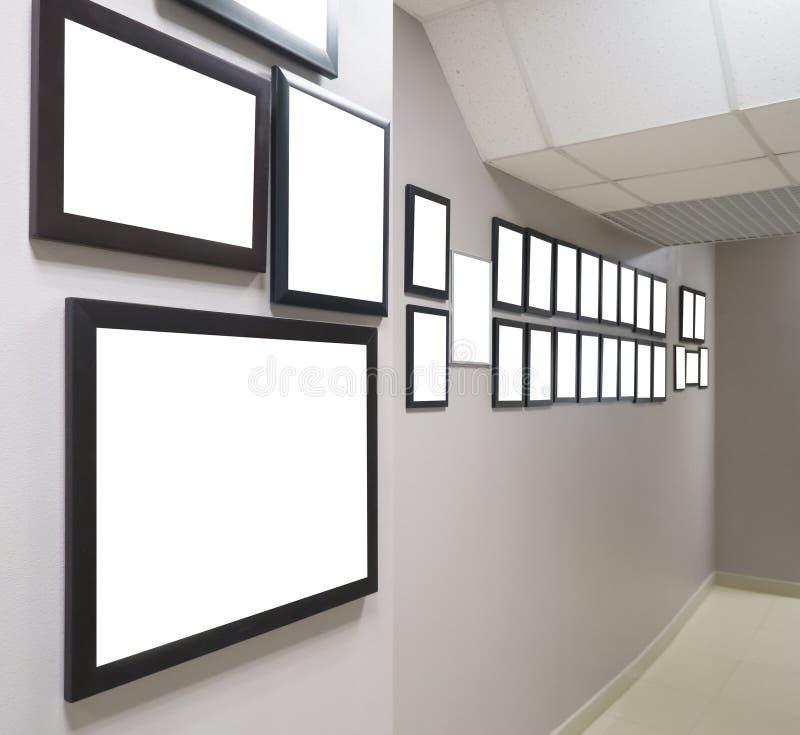 Os diplomas e as concessões na estrutura penduram na parede fotos de stock royalty free