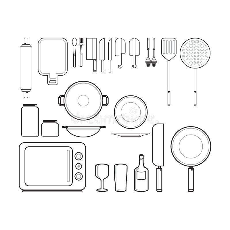 Os dispositivos de cozinha mostram em silhueta o conceito da ilustração ou do logotipo ilustração stock