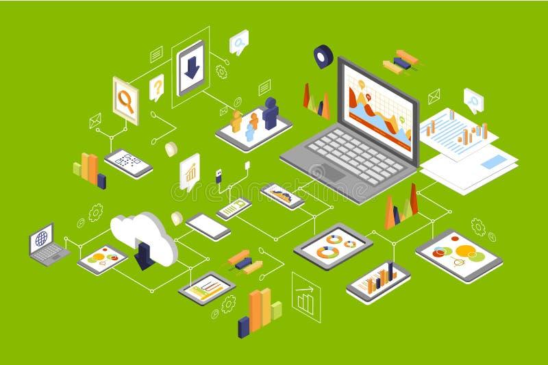 Os dispositivos diferentes conectaram, tecnologia e meios sociais, rede informática que processa a ilustração do vetor ilustração do vetor