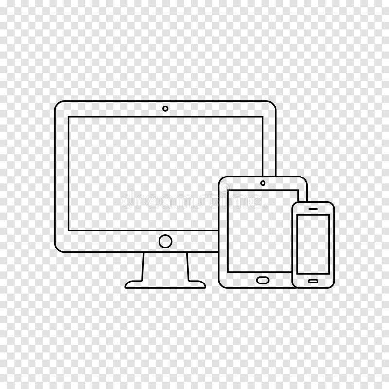 Os dispositivos digitais modernos diluem a linha ícone no fundo transparente ilustração do vetor