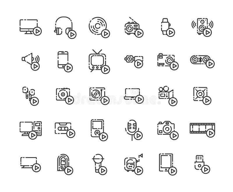 Os dispositivos e os jogadores dos meios esboçam o grupo do ícone ilustração stock