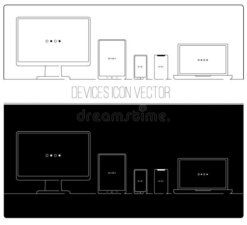 Os dispositivos eletrónicos diluem a linha ícones ilustração stock