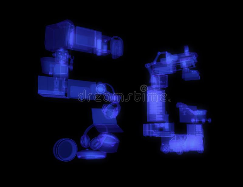 Os dispositivos espertos, o zangão, o veículo autônomo e o robô arranjaram no texto do ` do ` 5G ilustração do vetor