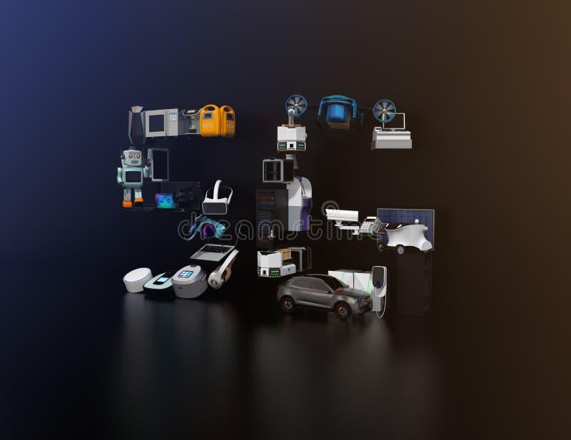 Os dispositivos espertos, o zangão, o veículo autônomo e o robô arranjaram no texto do ` do ` 5G foto de stock royalty free