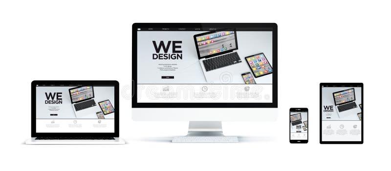 os dispositivos realísticos isolados com móbil responsivo app projetam a Web ilustração do vetor