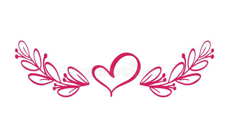 Os divisores vector isolado Linha horizontal do vintage com coração Regras decorativas da página Texto seleto da separação ilustração stock