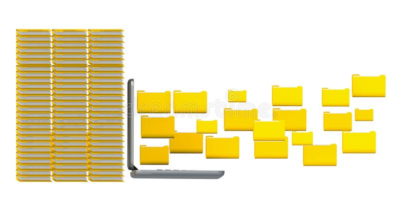 os dobradores dos arquivos de dados amarelam o starage do portátil - rendição 3d ilustração royalty free