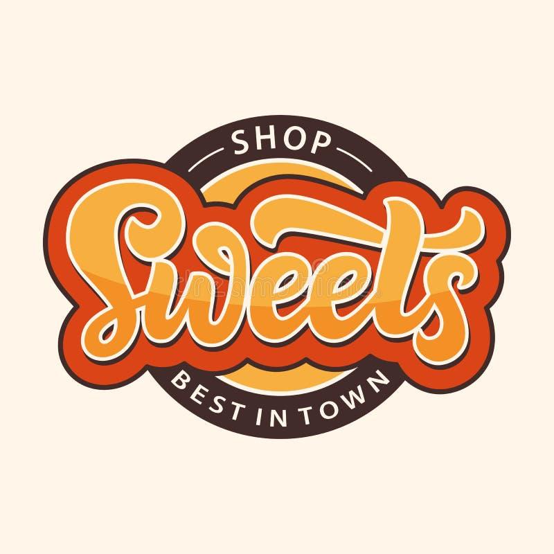 Os doces compram etiqueta do logotipo Molde do projeto do emblema da barra de chocolate ilustração royalty free