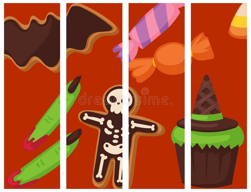 Os doces da doçura ou travessura do flayer do partido do bolo da noite dos cartões do alimento da cookie de Dia das Bruxas vector ilustração stock