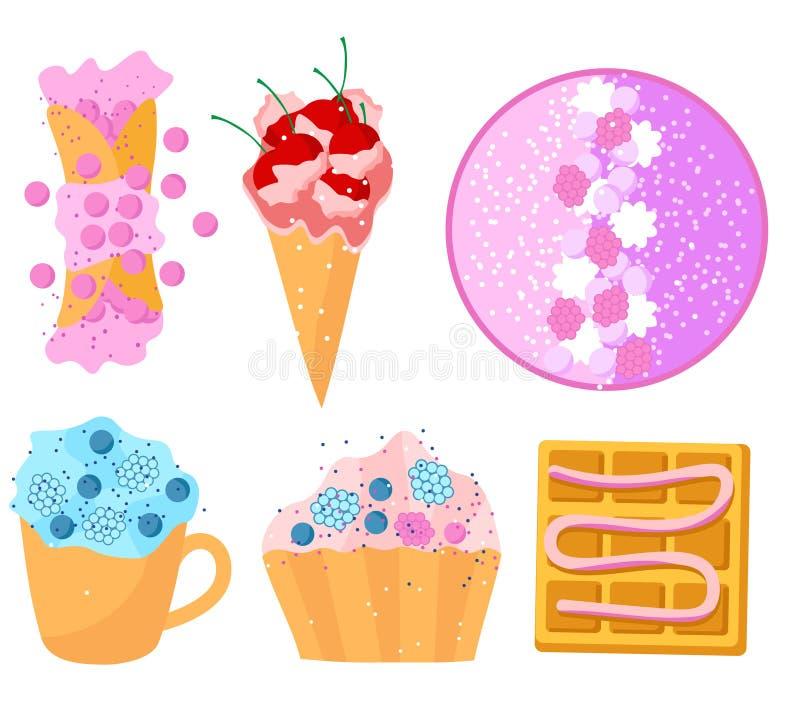 Os doces de verão ajustaram waffles lisos do projeto endurecem os frutos de creme do batido coloridos ilustração do vetor