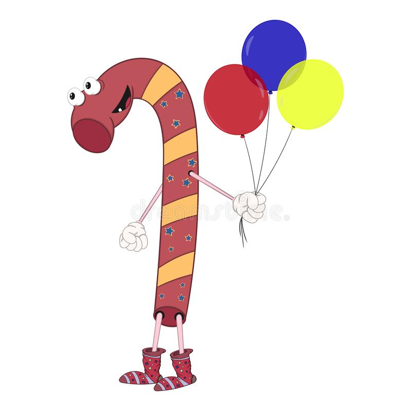Os doces do Natal guardam três balões em seus mão e sorrisos Estilo cômico dos desenhos animados alegres com contorno Ilustra??o  ilustração do vetor