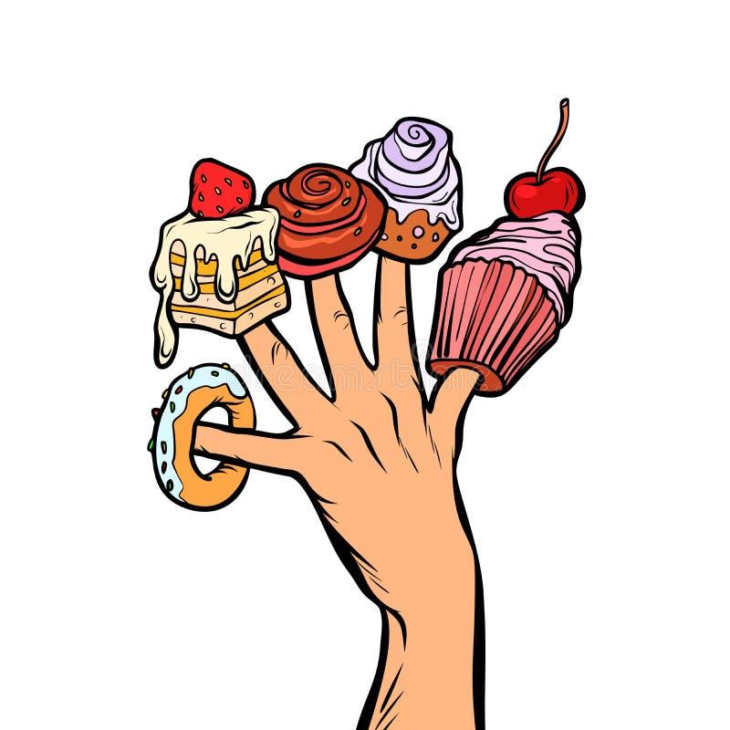 Os doces endurecem o marshmallow da filhós do queque nos dedos ilustração royalty free