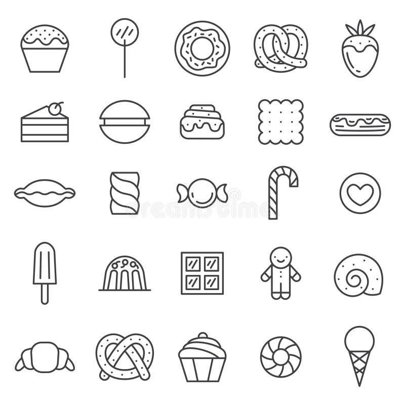 Os doces esboçam o grupo cinzento do vetor dos ícones Projeto de Minimalistic ilustração stock