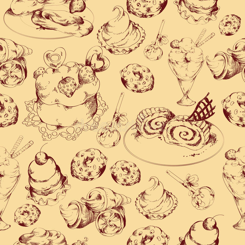 Os doces esboçam o teste padrão sem emenda ilustração royalty free