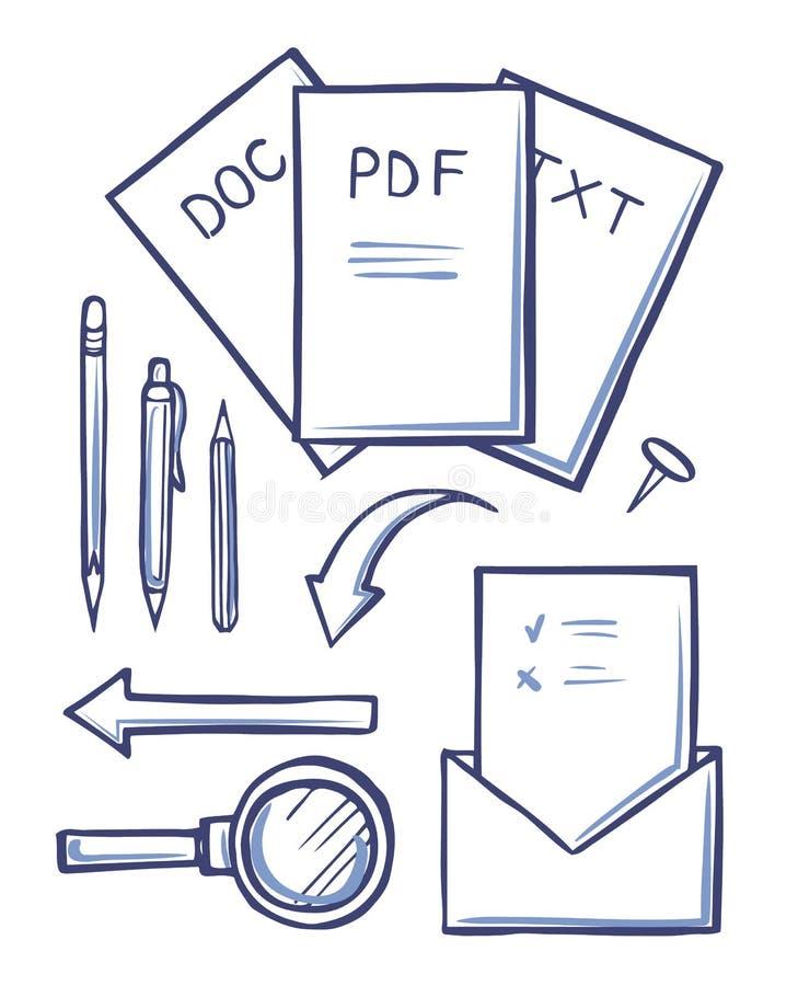 Os documentos e os envelopes do escritório esboçam vetor ajustado ilustração do vetor