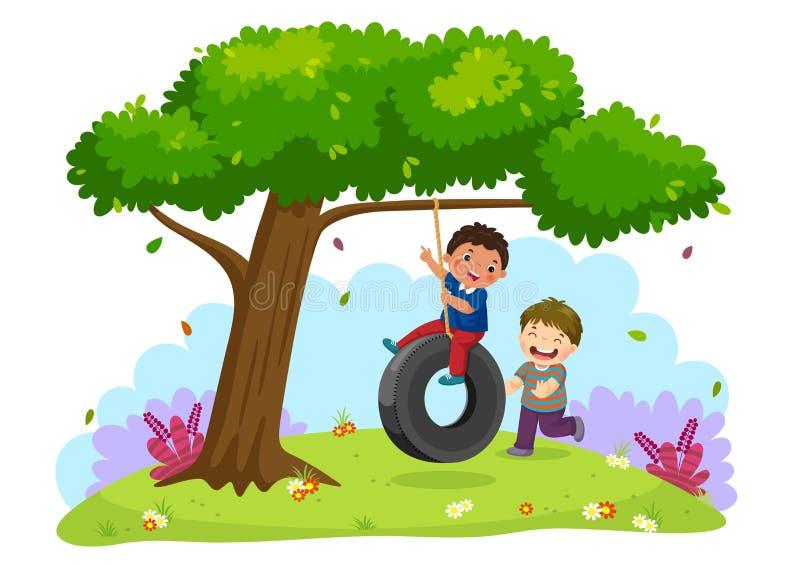 Os dois meninos felizes que jogam o pneu balançam sob a árvore ilustração do vetor