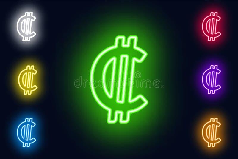 Os dois pontos de néon de Costa Rican assinam dentro várias opções da cor em um fundo escuro ilustração royalty free
