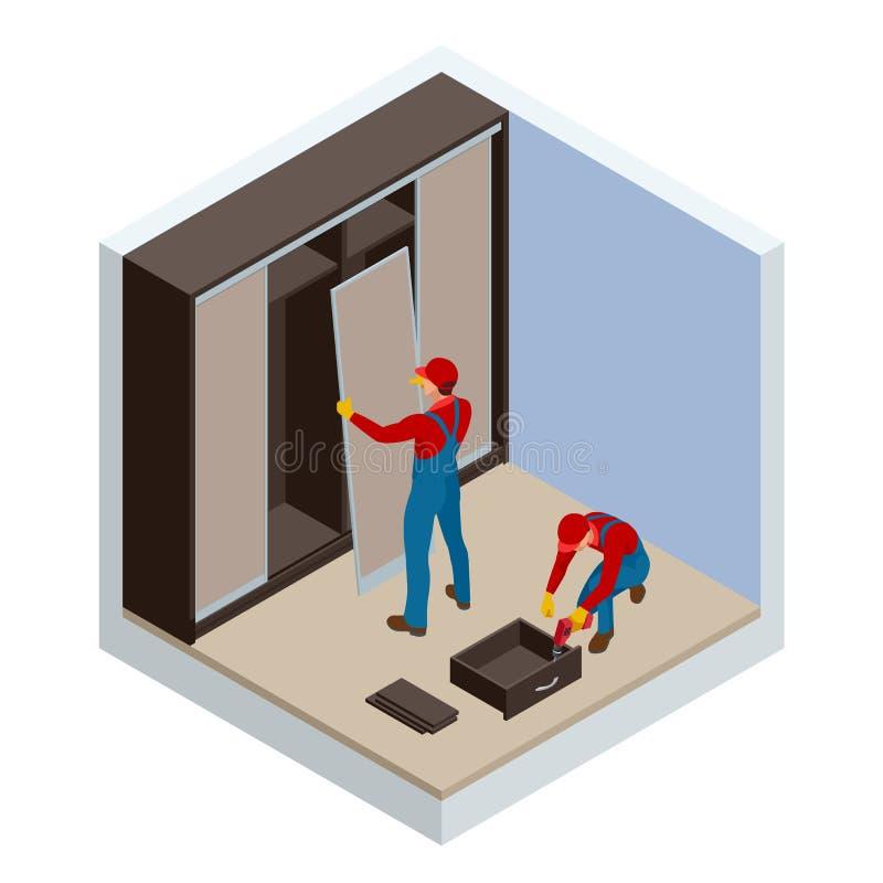 Os dois trabalhadores isométricos dos carpinteiros articulam e estabelecem o armário incorporado home A instalação do vestuário d ilustração royalty free