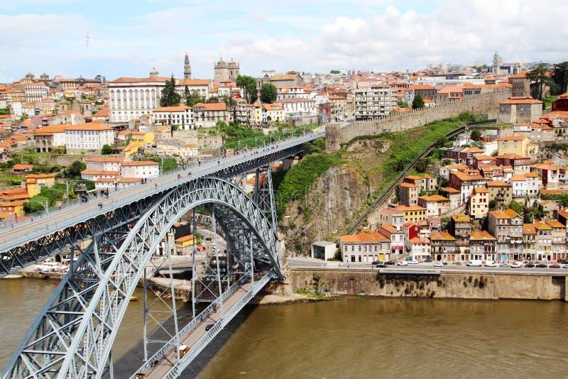 Os DOM LuÃs que eu construo uma ponte sobre, Porto, Portugal fotografia de stock