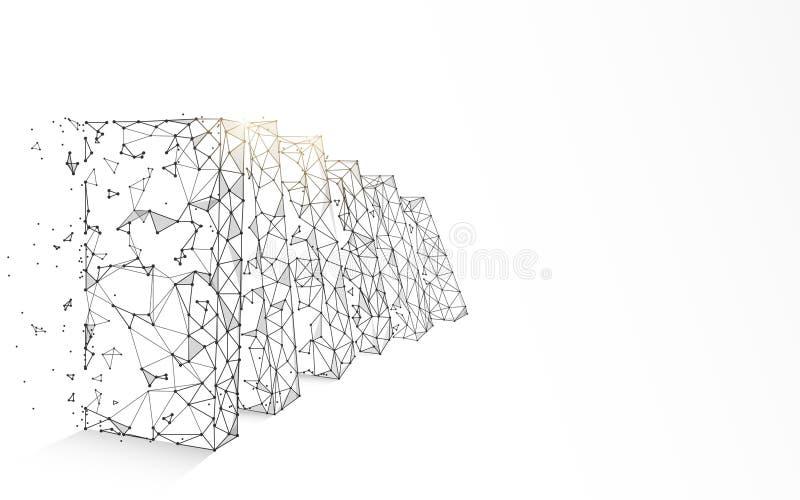 Os dominós de queda formam linhas, triângulos e projeto do estilo da partícula ilustração stock