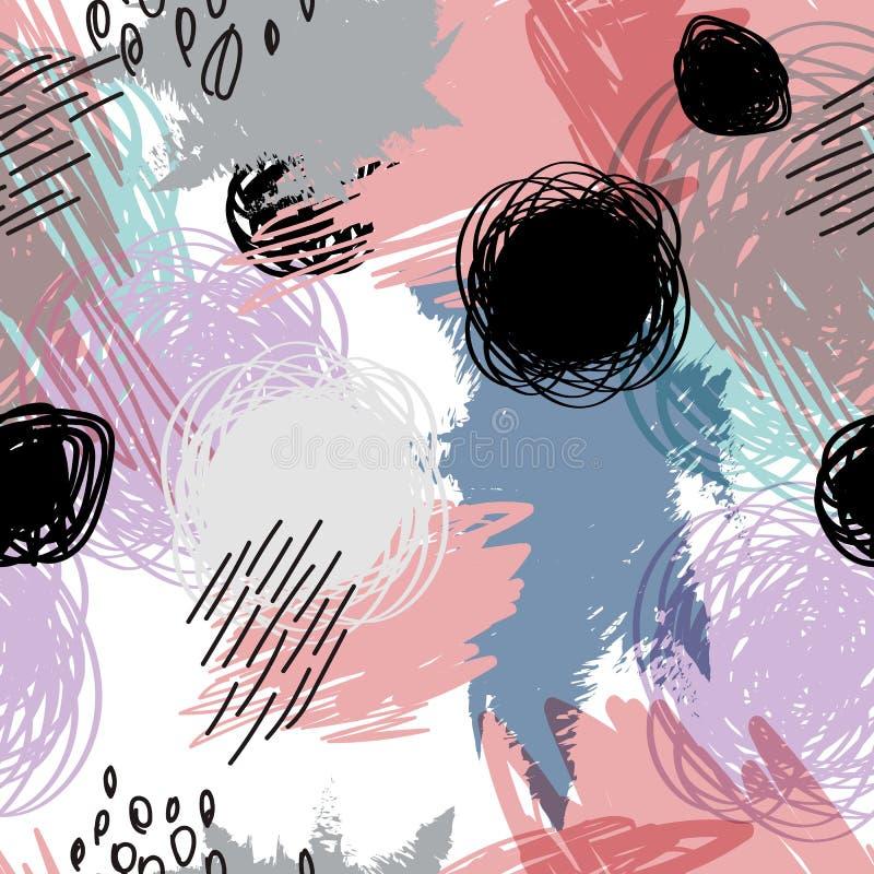 Os doots pretos da garatuja no sumário mancharam o teste padrão sem emenda do fundo ilustração royalty free
