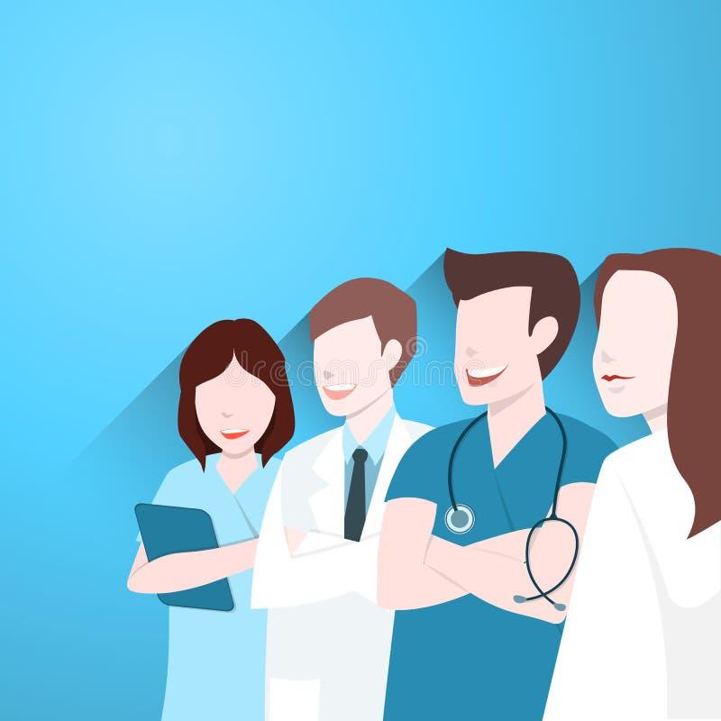 Os doutores agrupam, equipa médica feliz ilustração do vetor