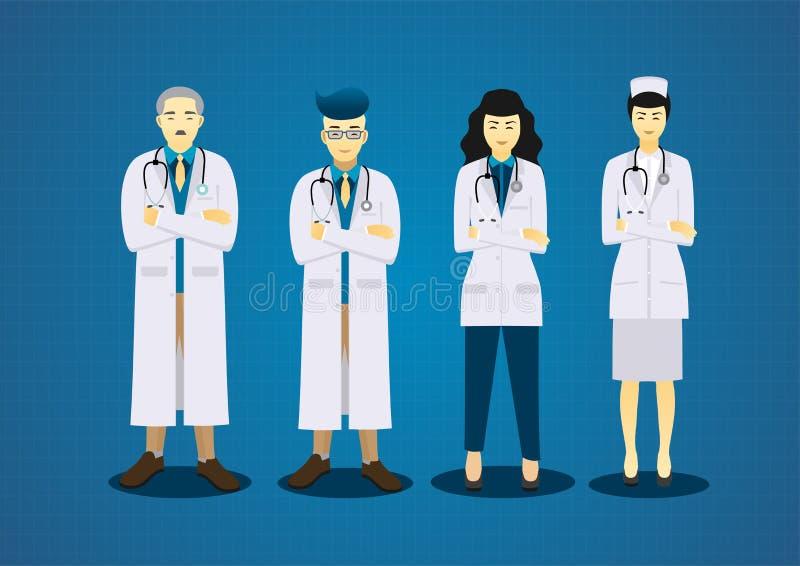 Os doutores da equipe e o grupo médico do projeto de caráter da enfermeira ilustração do vetor