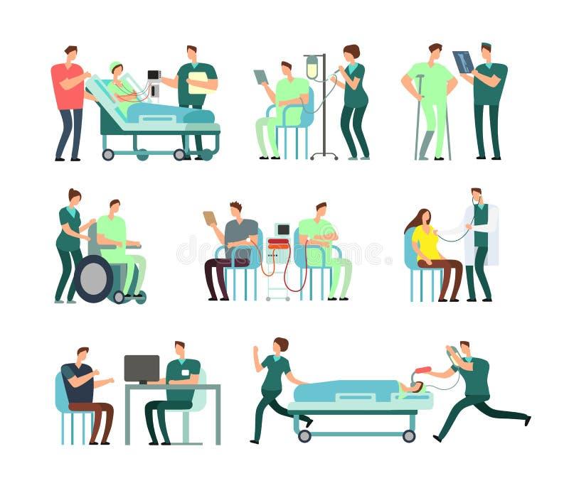 Os doutores, a enfermeira médica e os pacientes na atividade de hospital vector povos para conceitos dos cuidados médicos ilustração royalty free