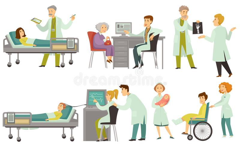 Os doutores examinam e tratam pacientes com o equipamento médico especial ilustração stock