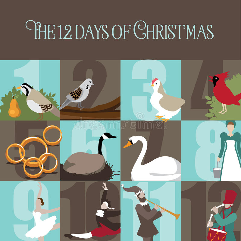 Os doze dias do Natal ilustração do vetor