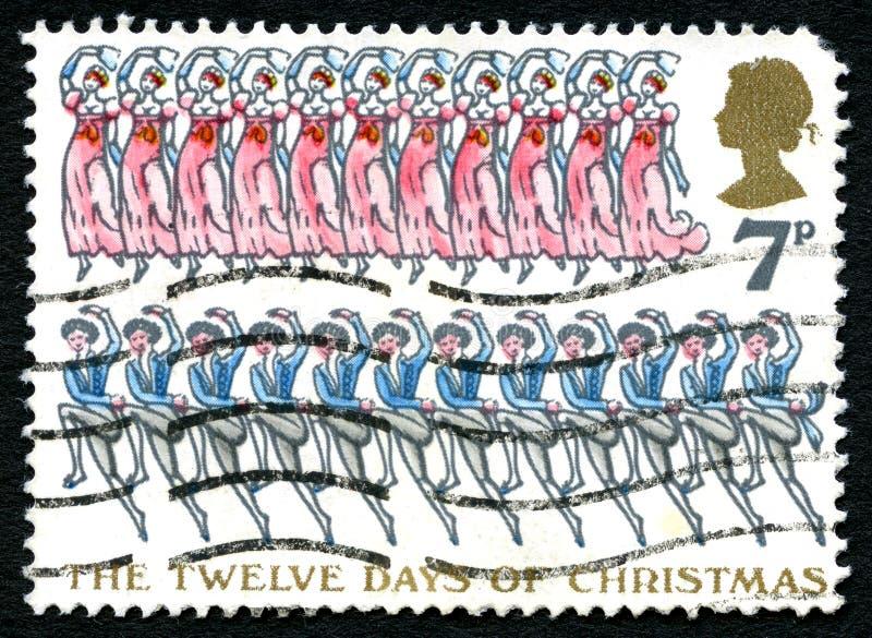 Os doze dias do selo postal do Reino Unido do Natal foto de stock
