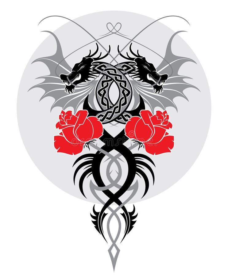Os dragões e levantaram-se ilustração royalty free