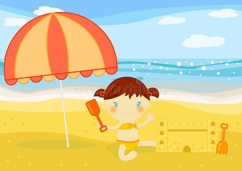 Os edifícios da menina lixam o castelo na praia ilustração royalty free