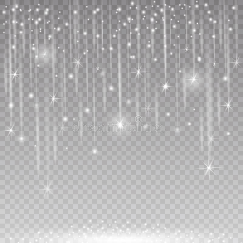 Os efeitos da luz de incandescência do brilho isolaram realístico Elemento do projeto da decoração do Natal Alargamento da lente  ilustração stock